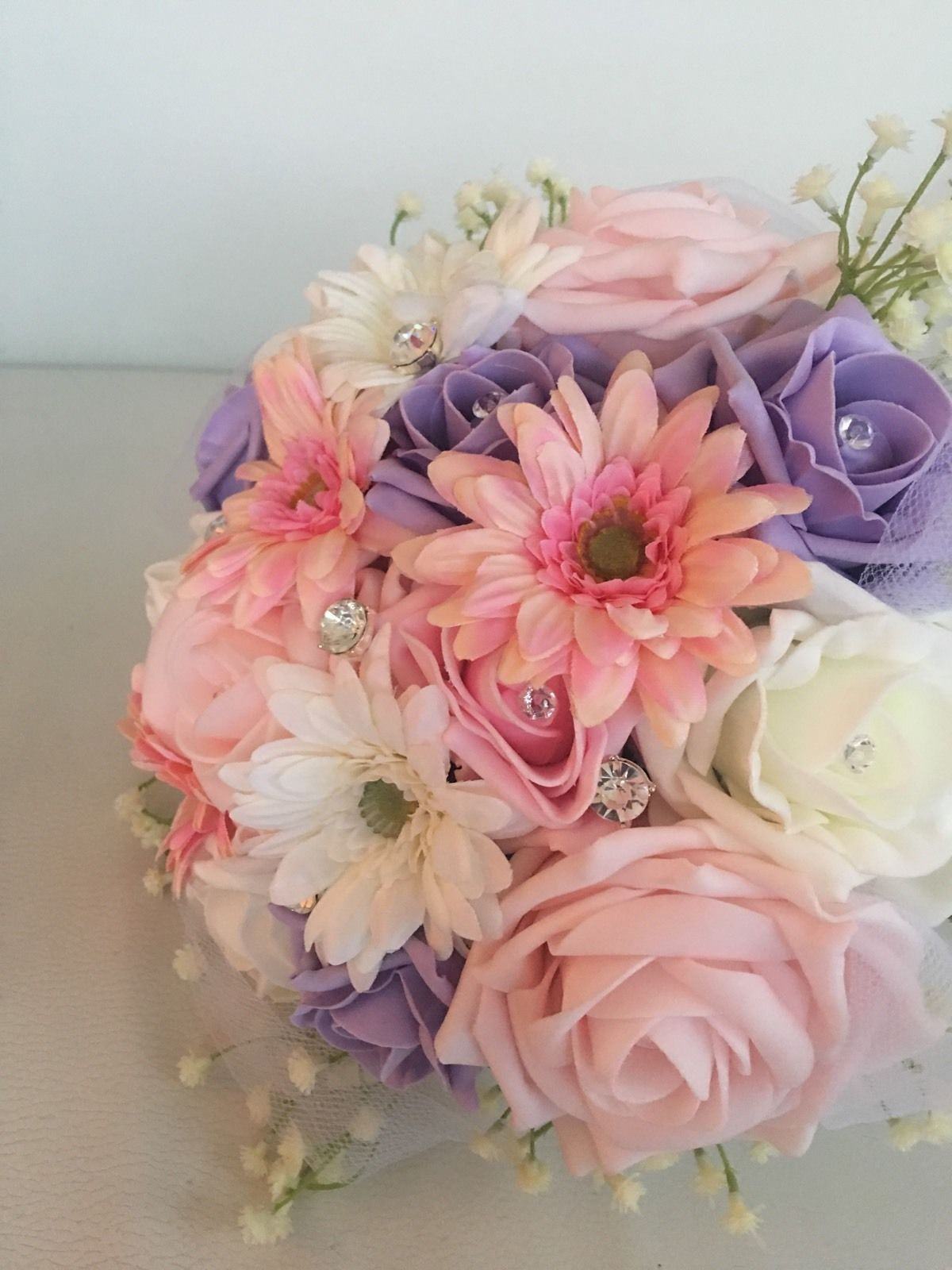 Wedding Mixed Flowers Pink Lilac Bridesmaid Bouquet Vintage Country
